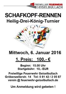 Schafkopf-Turnier am 6. Januar 2016