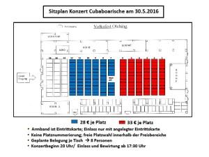 Sitzplan Konzert Cubaboarische am 30.5.2016