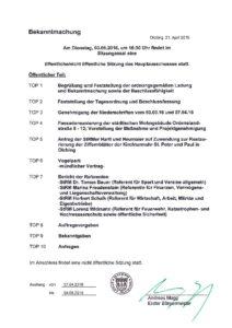Sitzung des Hauptausschusses am Dienstag, den 3. Mai 2016