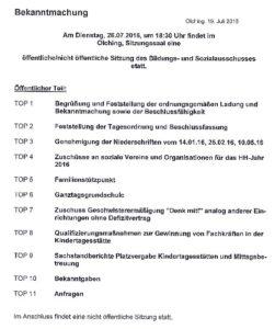 Bildungs-und Sozialausschuss 26072016