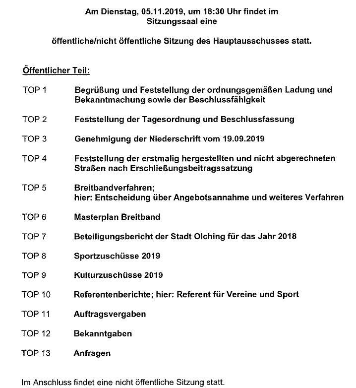 Agenda Hauptausschuss 5.11.19